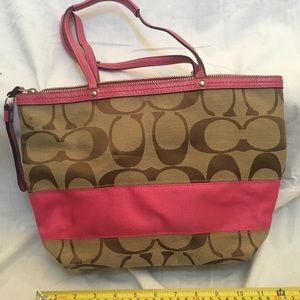 Coach pink shoulder tote